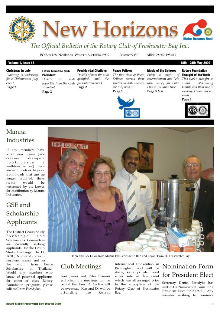New Horizons                    The Official Bulletin of the Rotary Club of Freshwater Bay Inc.                            ...