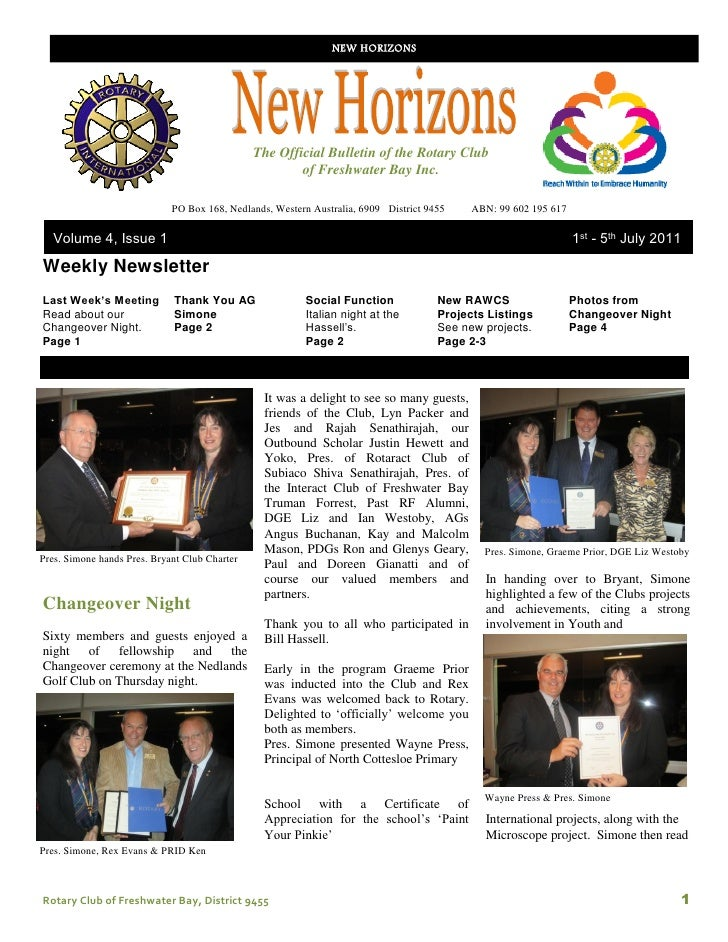 NEW HORIZONS                                               The Official Bulletin of the Rotary Club                       ...