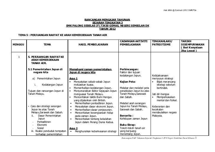 Rancangan Tahunan Sejarah Tingkatan 3 2012