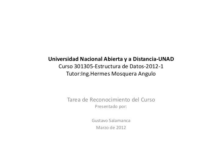 Universidad Nacional Abierta y a Distancia-UNAD    Curso 301305-Estructura de Datos-2012-1       Tutor:Ing.Hermes Mosquera...