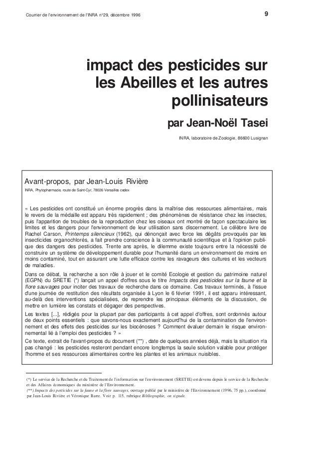 Courrier de l'environnement de l'INRA n°29, décembre 1996  9  impact des pesticides sur  les Abeilles et les autres  polli...