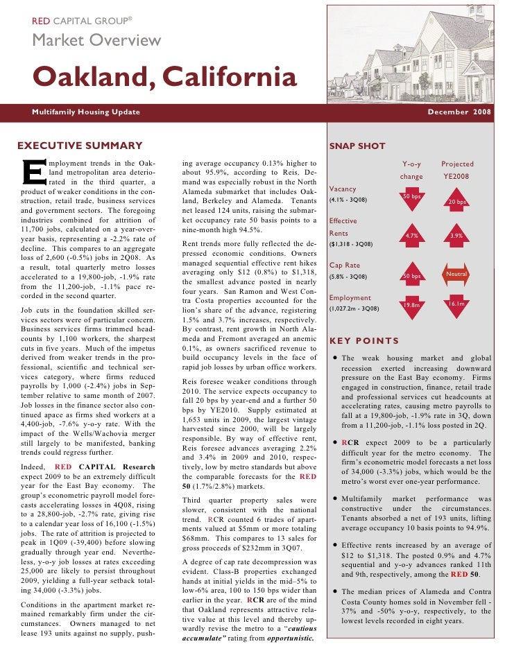 RED CAPITAL GROUP®     Market Overview     Oakland, California    Multifamily Housing Update                              ...
