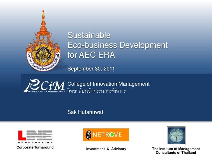 Sustainable                       Eco-business Development                       for AEC ERA                       Septemb...