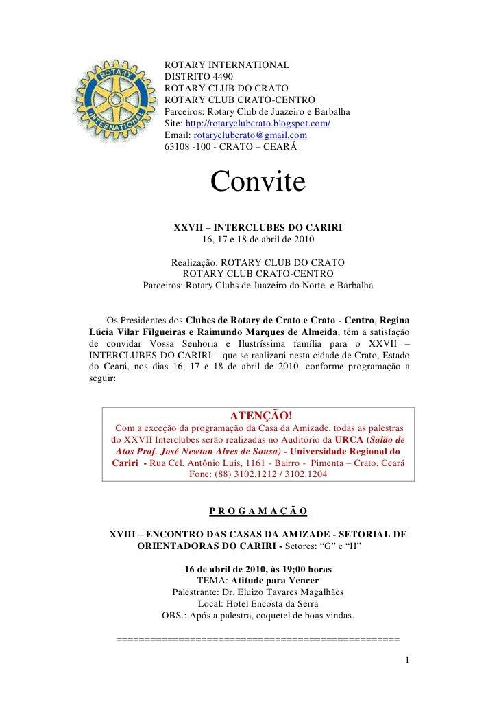 ROTARY INTERNATIONAL                  DISTRITO 4490                  ROTARY CLUB DO CRATO                  ROTARY CLUB CRA...