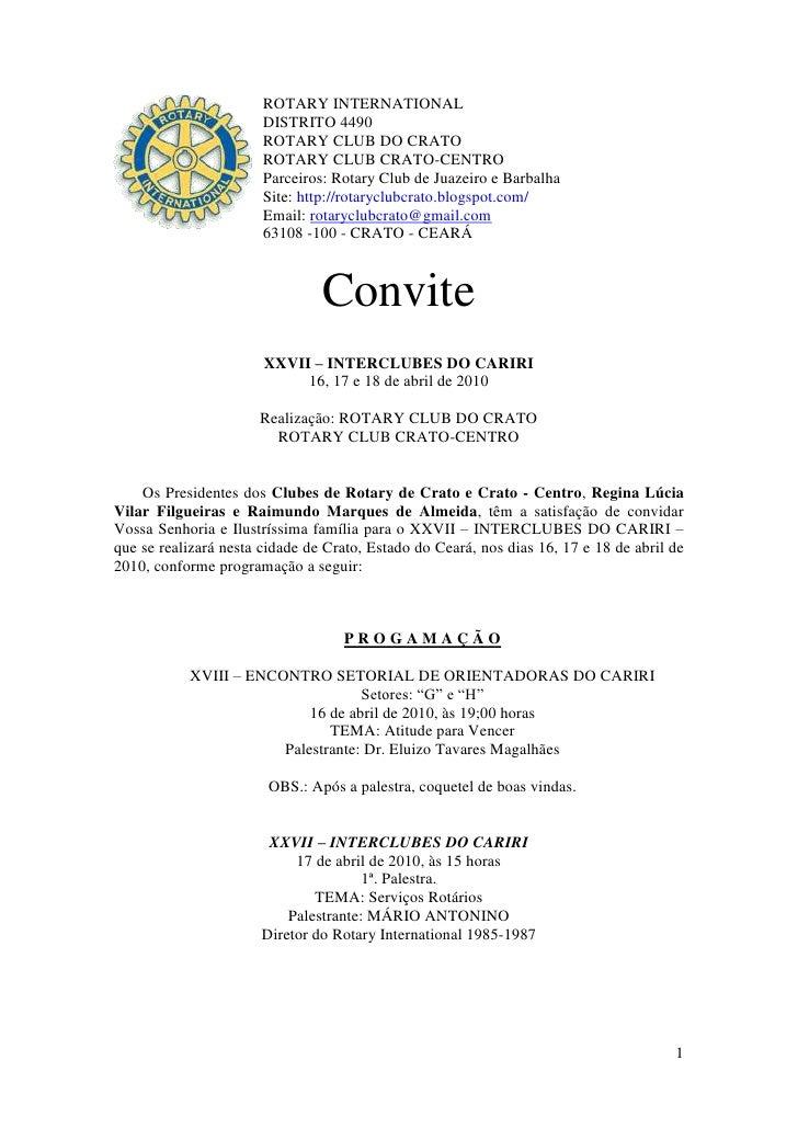ROTARY INTERNATIONAL                        DISTRITO 4490                        ROTARY CLUB DO CRATO                     ...