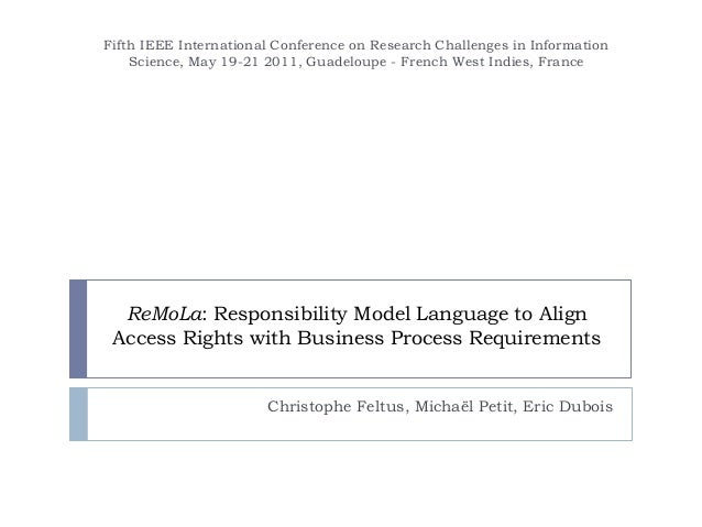 ReMoLa: Responsibility Model Language to Align Access Rights with Business Process Requirements Christophe Feltus, Michaël...