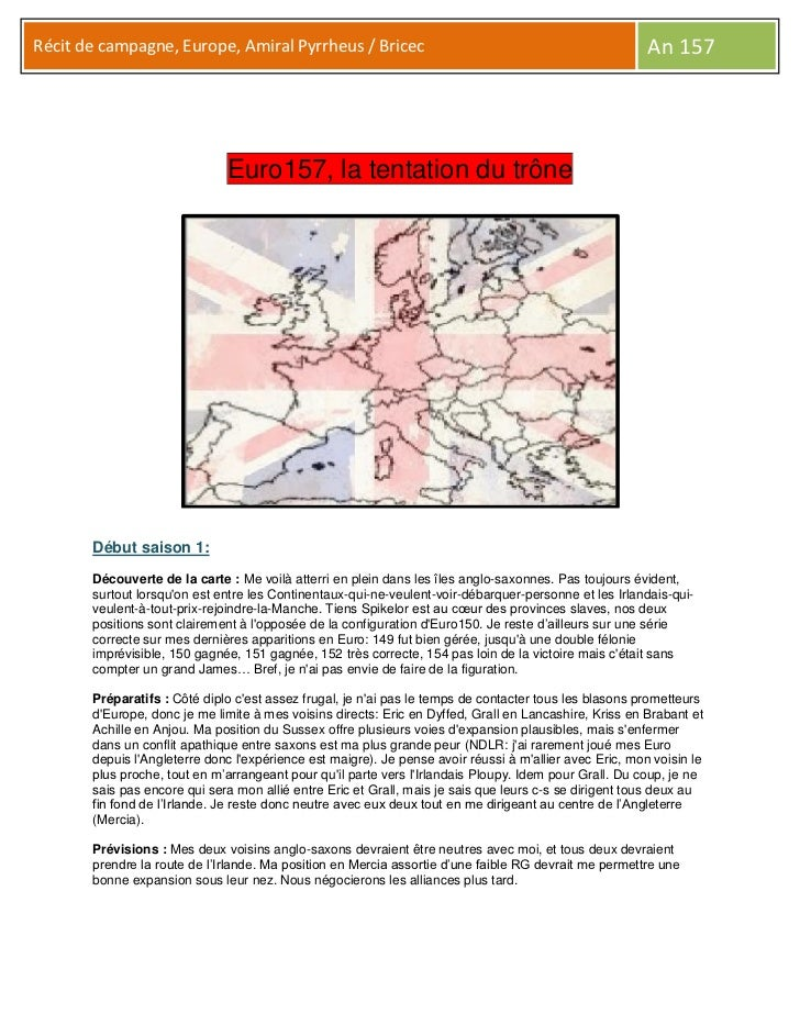Récit de campagne, Europe, Amiral Pyrrheus / Bricec                                                      An 157           ...