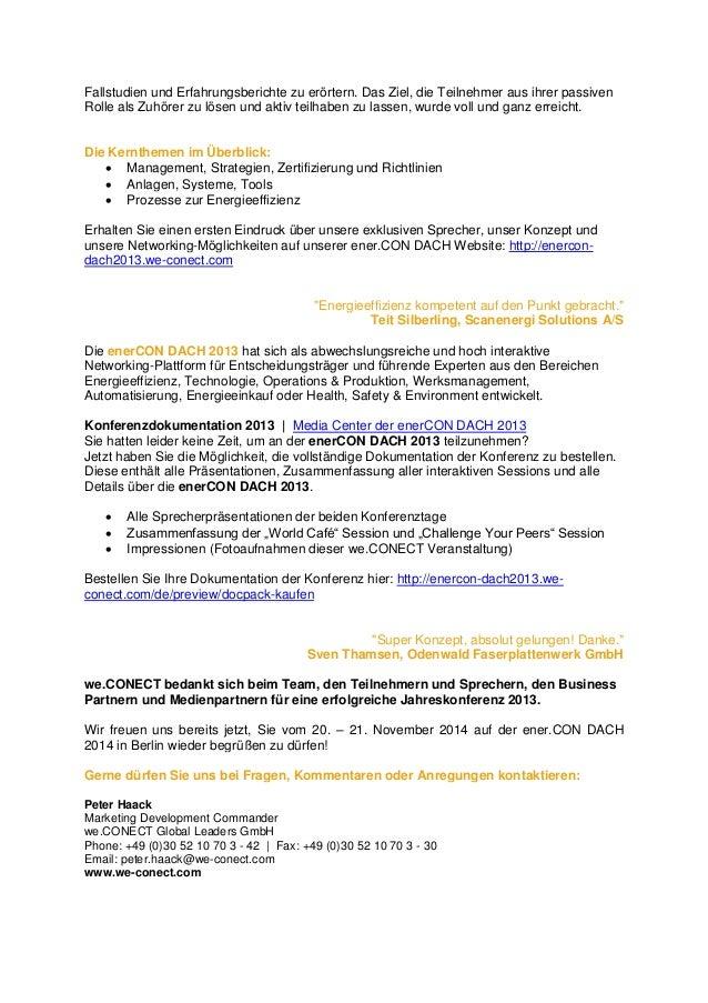 Rückblick der ener.CON DACH 2013 Konferenz Slide 2