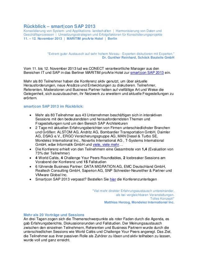 Rückblick – smart|con SAP 2013 Konsolidierung von System- und Applikations- landschaften | Harmonisierung von Daten und Ge...