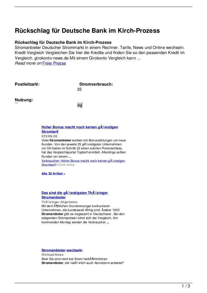 Rückschlag für Deutsche Bank im Kirch-ProzessRückschlag für Deutsche Bank im Kirch-ProzessStromanbieter Deutscher Strommar...