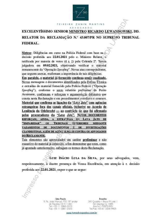 EXCELENTÍSSIMO SENHOR MINISTRO RICARDO LEWANDOWSKI, DD. RELATOR DA RECLAMAÇÃO N.° 43.007/PR NO SUPREMO TRIBUNAL FEDERAL. S...