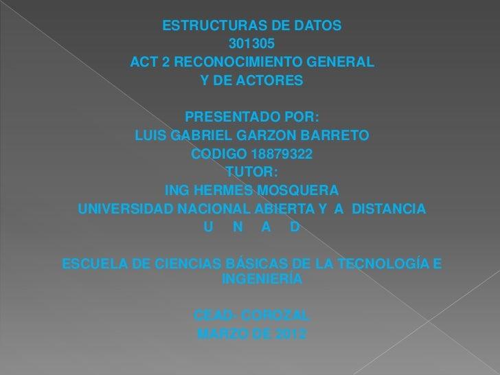 ESTRUCTURAS DE DATOS                     301305        ACT 2 RECONOCIMIENTO GENERAL                 Y DE ACTORES          ...