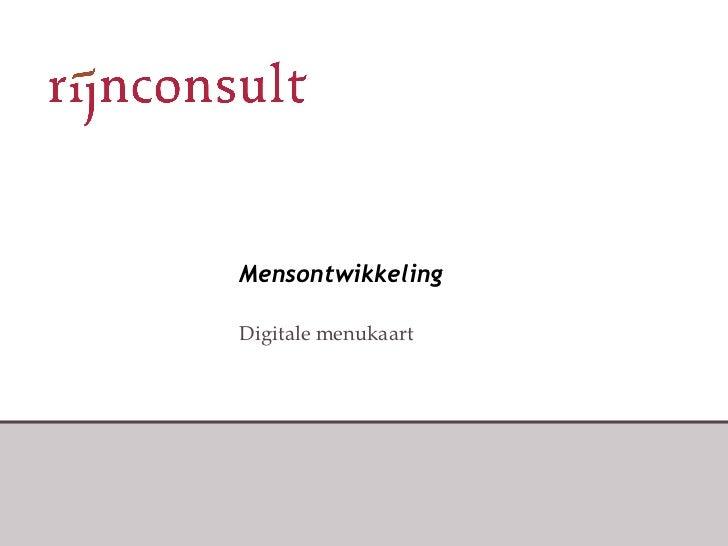 Mensontwikkeling Digitale menukaart