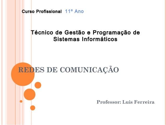 Curso Profissional 11º Ano   Técnico de Gestão e Programação de          Sistemas InformáticosREDES DE COMUNICAÇÃO        ...