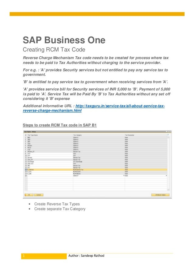 RCM tax code... Reverse Charge Mechanism