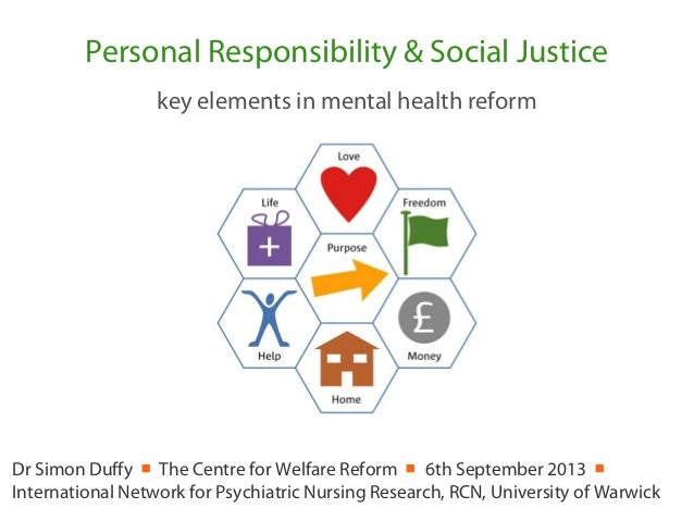 Personal Responsibility & Social Justice key elements in mental health reform Dr Simon Duffy ■ The Centre for Welfare Refo...
