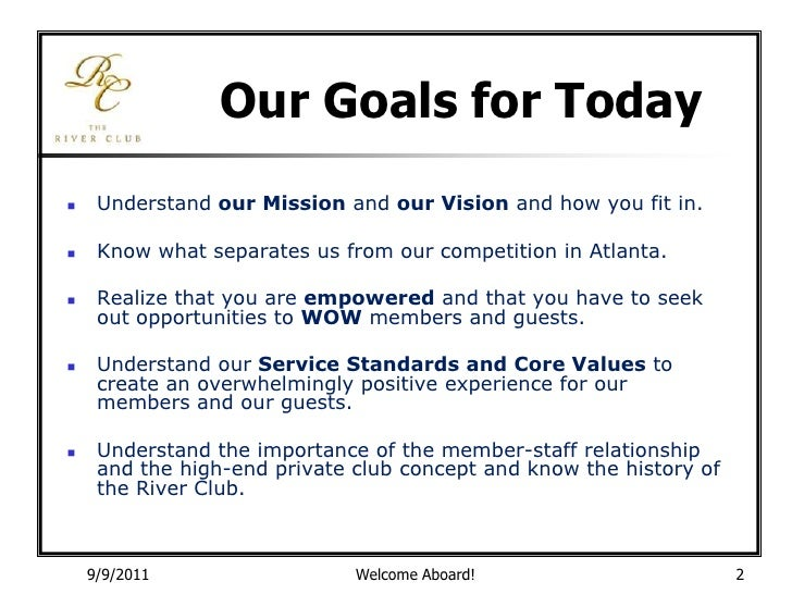 River Club New Employee Service Orientation 2011
