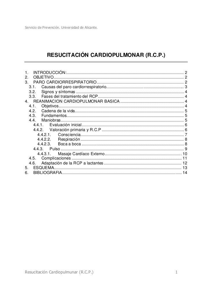 Servicio de Prevención. Universidad de Alicante.                 RESUCITACIÓN CARDIOPULMONAR (R.C.P.)1.  INTRODUCCIÓN:.......