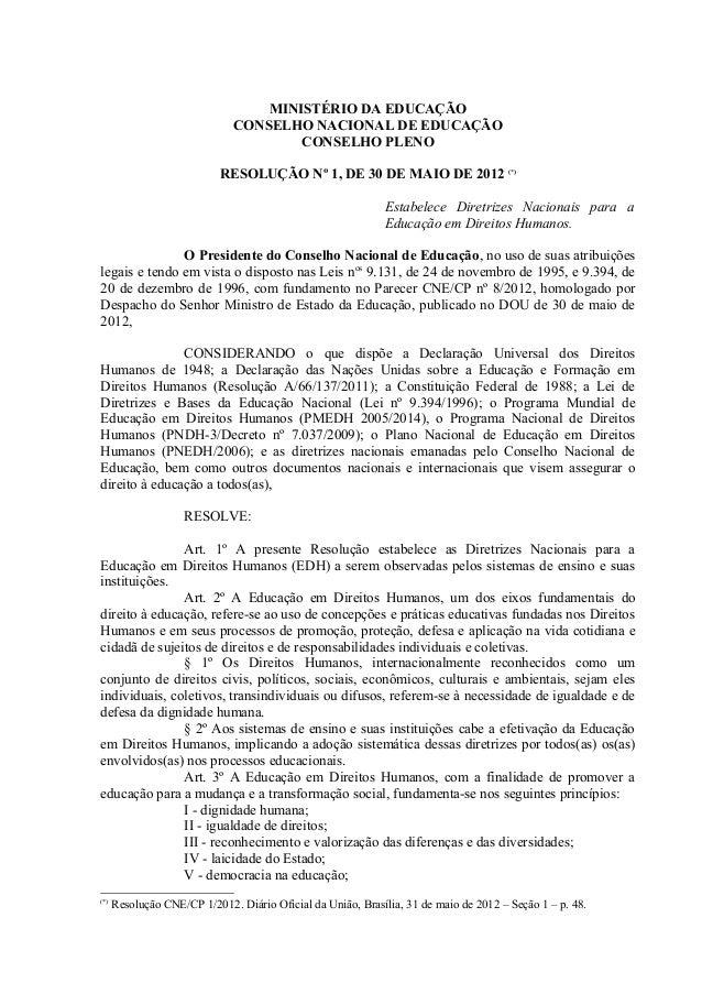 MINISTÉRIO DA EDUCAÇÃO CONSELHO NACIONAL DE EDUCAÇÃO CONSELHO PLENO RESOLUÇÃO Nº 1, DE 30 DE MAIO DE 2012 (*) Estabelece D...