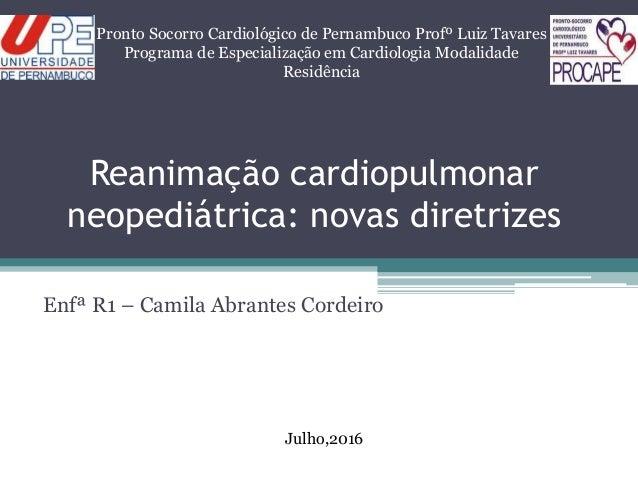 Reanimação cardiopulmonar neopediátrica: novas diretrizes Enfª R1 – Camila Abrantes Cordeiro Pronto Socorro Cardiológico d...