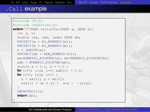 R API inline Sugar R* Objects Modules End Why R? Context R API Overview Examples .Call example #include <R.h> #include <Rd...