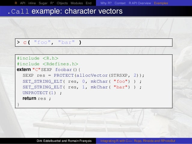 """R API inline Sugar R* Objects Modules End Why R? Context R API Overview Examples .Call example: character vectors > c( """"fo..."""