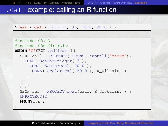 R API inline Sugar R* Objects Modules End Why R? Context R API Overview Examples .Call example: calling an R function > ev...