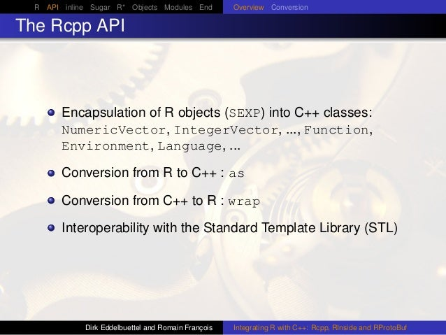 R API inline Sugar R* Objects Modules End Overview Conversion The Rcpp API Encapsulation of R objects (SEXP) into C++ clas...