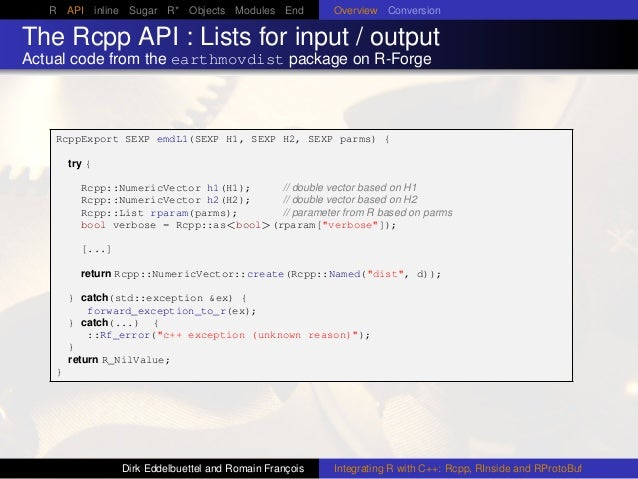 R API inline Sugar R* Objects Modules End Overview Conversion The Rcpp API : Lists for input / output Actual code from the...