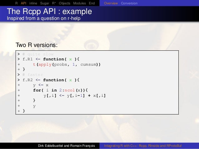 R API inline Sugar R* Objects Modules End Overview Conversion The Rcpp API : example Inspired from a question on r-help Tw...