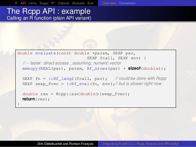 R API inline Sugar R* Objects Modules End Overview Conversion The Rcpp API : example Calling an R function (plain API vari...