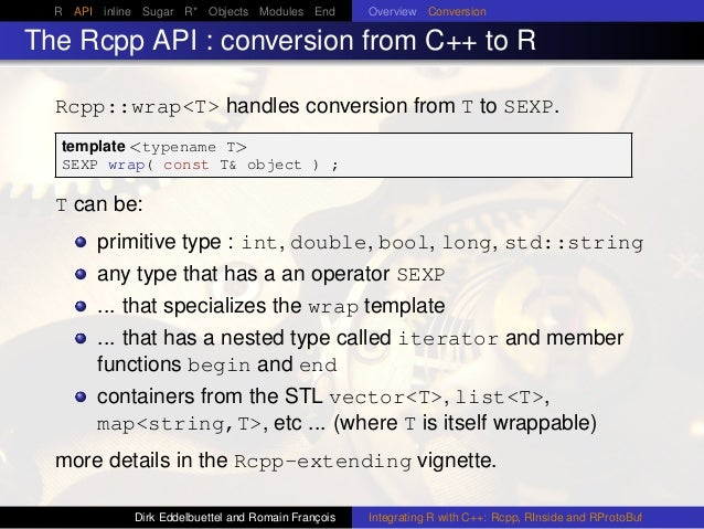 R API inline Sugar R* Objects Modules End Overview Conversion The Rcpp API : conversion from C++ to R Rcpp::wrap<T> handle...