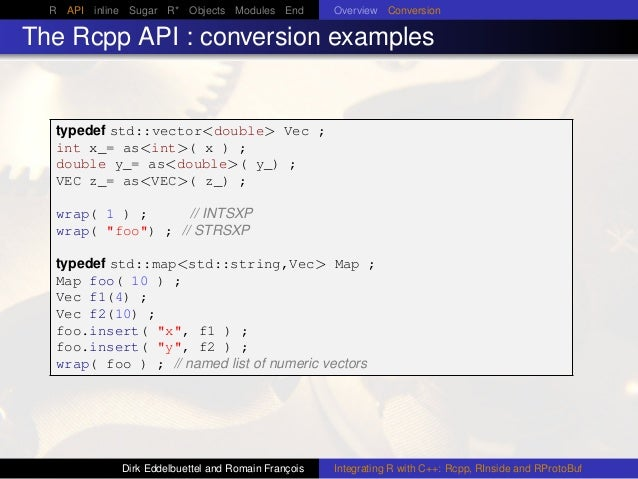 R API inline Sugar R* Objects Modules End Overview Conversion The Rcpp API : conversion examples typedef std::vector<doubl...
