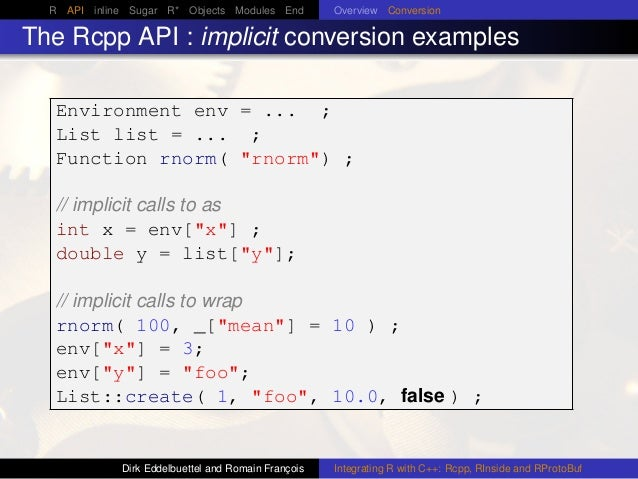 R API inline Sugar R* Objects Modules End Overview Conversion The Rcpp API : implicit conversion examples Environment env ...