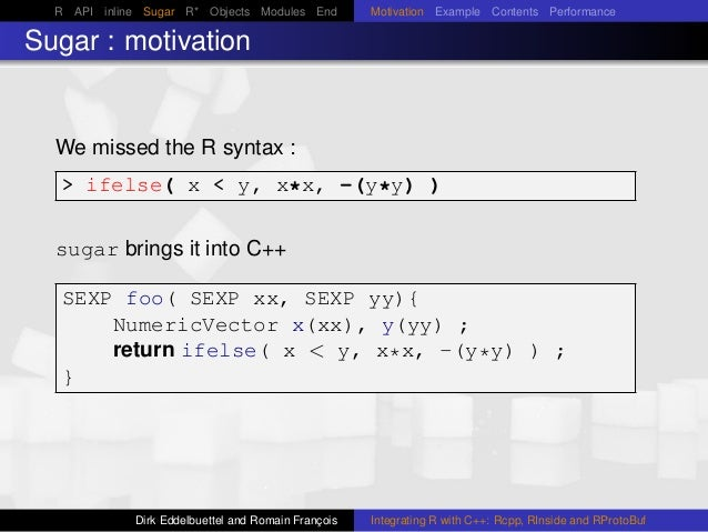 R API inline Sugar R* Objects Modules End Motivation Example Contents Performance Sugar : motivation We missed the R synta...