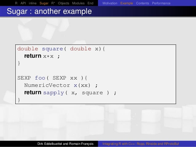 R API inline Sugar R* Objects Modules End Motivation Example Contents Performance Sugar : another example double square( d...