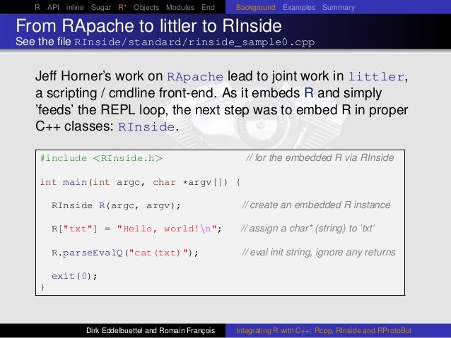 R API inline Sugar R* Objects Modules End Background Examples Summary From RApache to littler to RInside See the file RInsi...