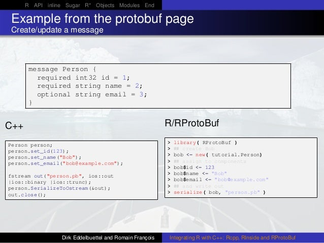 R API inline Sugar R* Objects Modules End Example from the protobuf page Create/update a message message Person { required...