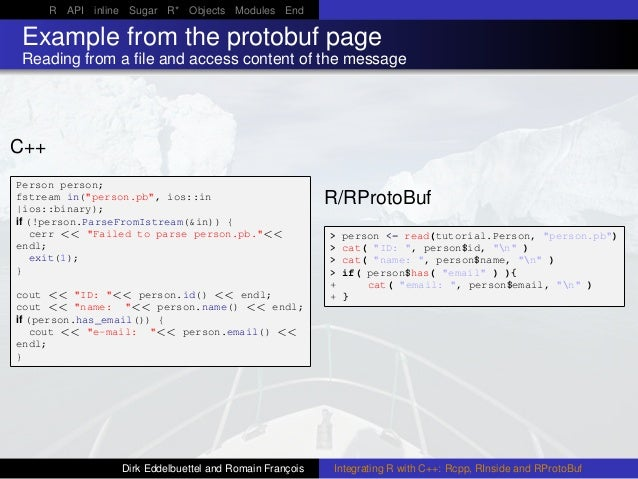 R API inline Sugar R* Objects Modules End Example from the protobuf page Reading from a file and access content of the mess...