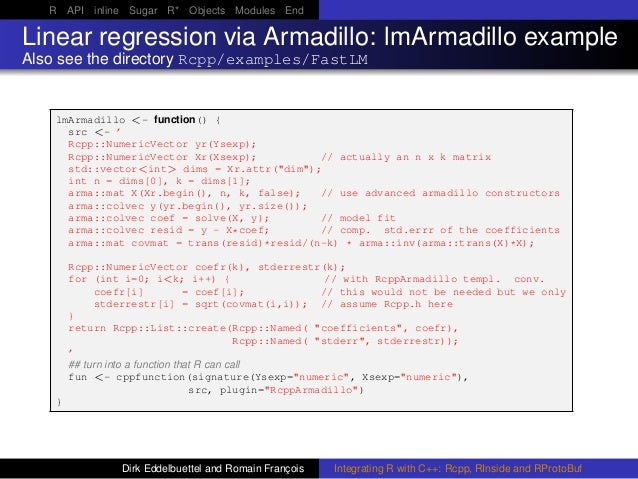 R API inline Sugar R* Objects Modules End Linear regression via Armadillo: lmArmadillo example Also see the directory Rcpp...