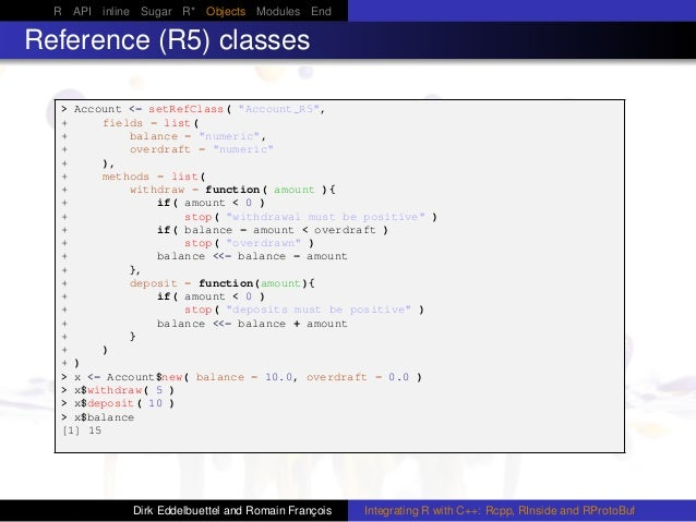 """R API inline Sugar R* Objects Modules End Reference (R5) classes > Account <- setRefClass( """"Account_R5"""", + fields = list( ..."""