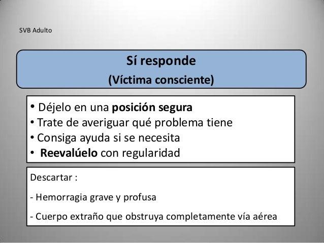 SVB Adulto                        Sí responde                    (Víctima consciente)   • Déjelo en una posición segura   ...
