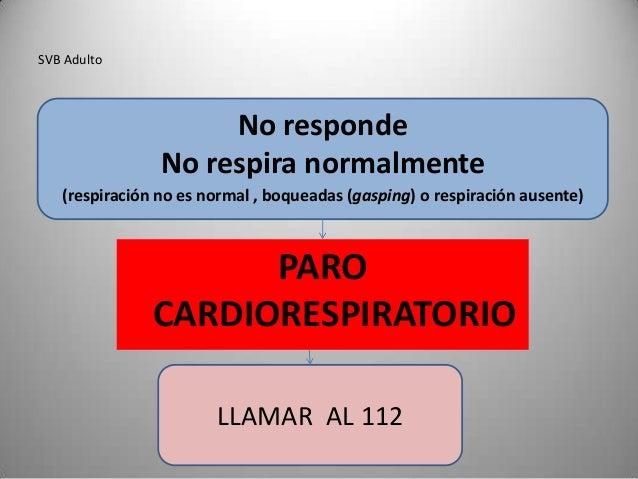 SVB Adulto                     No responde                No respira normalmente   (respiración no es normal , boqueadas (...