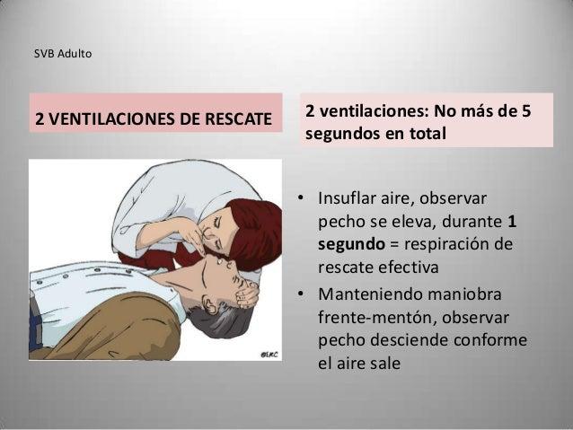 SVB Adulto2 VENTILACIONES DE RESCATE    2 ventilaciones: No más de 5                              segundos en total       ...