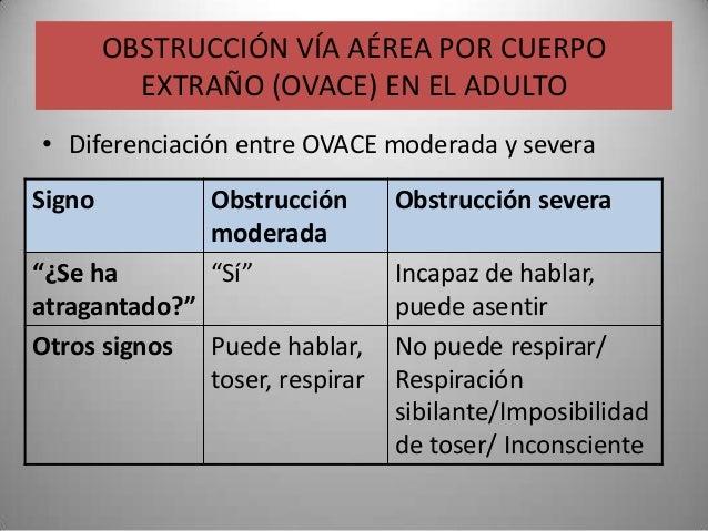 OBSTRUCCIÓN VÍA AÉREA POR CUERPO          EXTRAÑO (OVACE) EN EL ADULTO• Diferenciación entre OVACE moderada y severaSigno ...