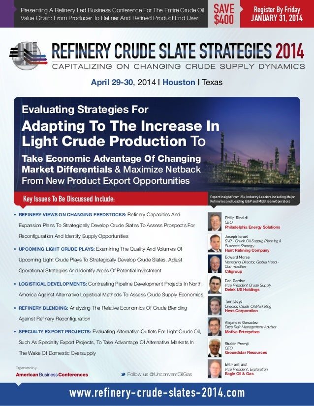 Presenting A Refinery Led Business Conference For The Entire Crude Oil Value Chain: From Producer To Refiner And Refined P...