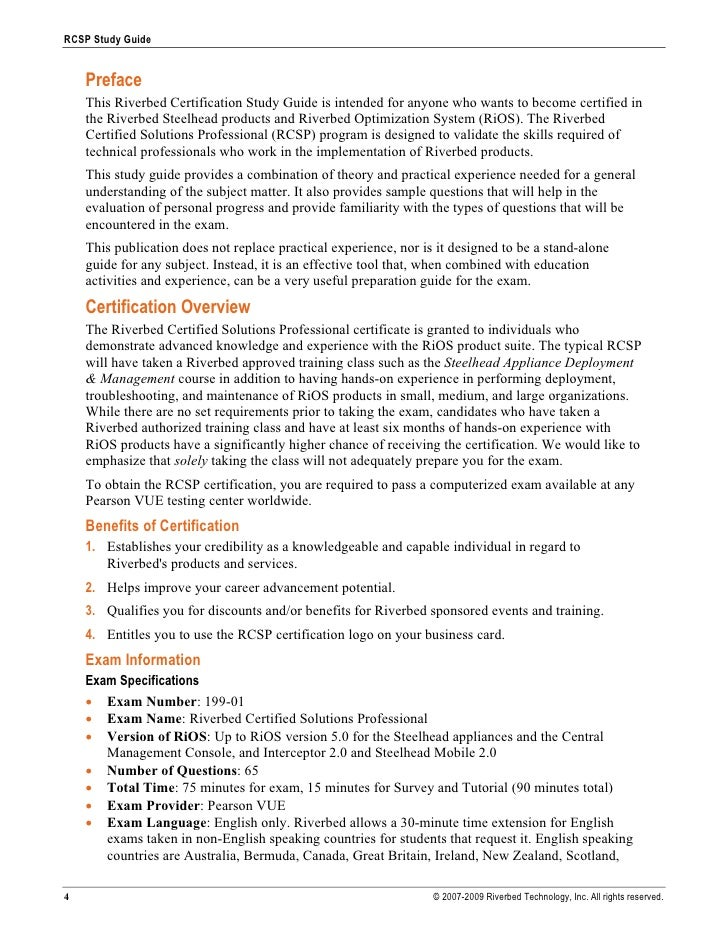 RCSP Study Guide       Preface     This Riverbed Certification Study Guide is intended for anyone who wants to become cert...