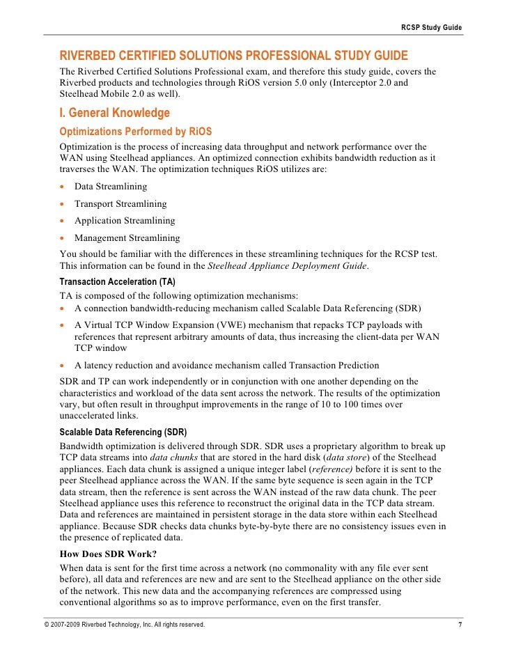 RCSP Study Guide        RIVERBED CERTIFIED SOLUTIONS PROFESSIONAL STUDY GUIDE      The Riverbed Certified Solutions Profes...