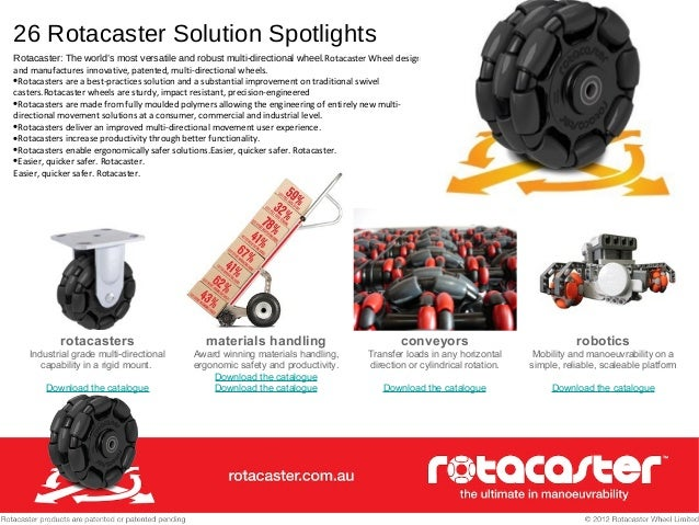 26 Rotacaster Solution Spotlights Rotacaster: The world's most versatile and robust multi-directional wheel.Rotacaster Whe...