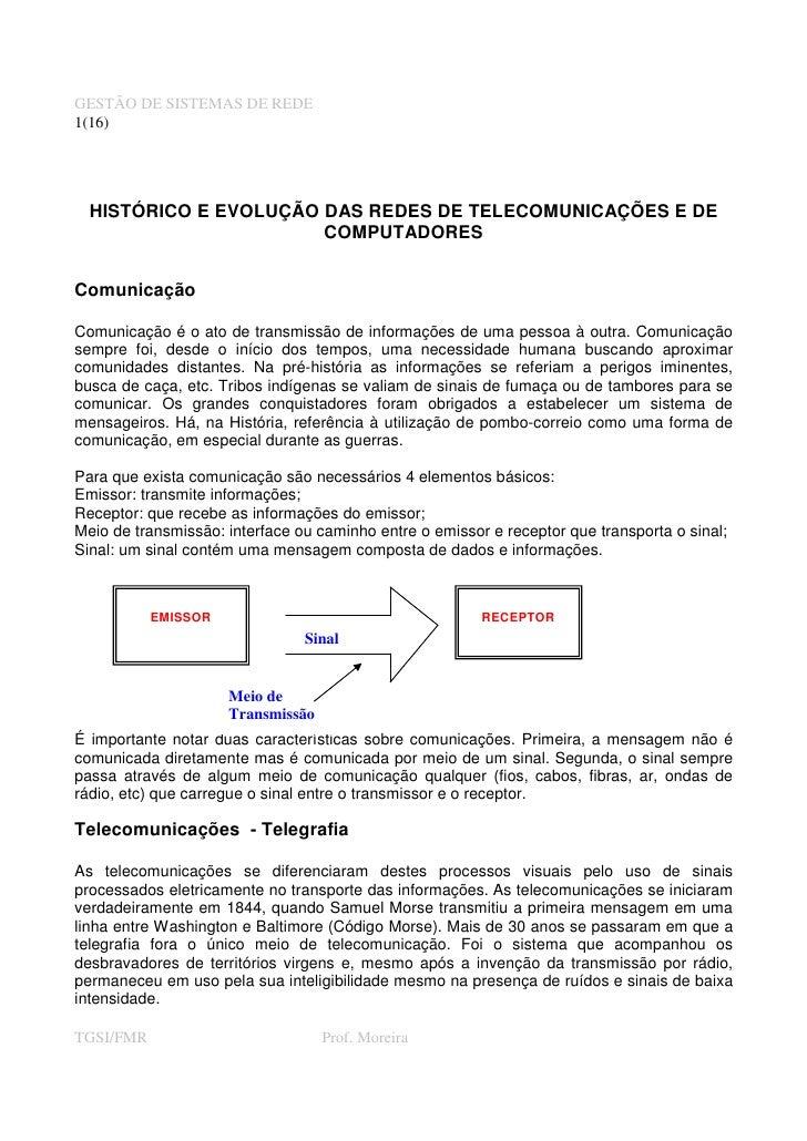 GESTÃO DE SISTEMAS DE REDE 1(16)       HISTÓRICO E EVOLUÇÃO DAS REDES DE TELECOMUNICAÇÕES E DE                        COMP...